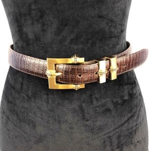BRIGHTON Vintage Lizard Embossed Leather Belt M